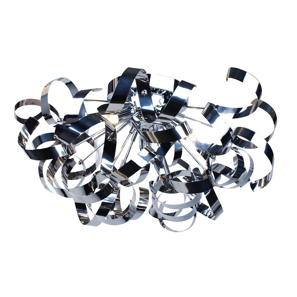 Modern Chrome 3 Light Flush Ceiling Fitting Ribbon Twist