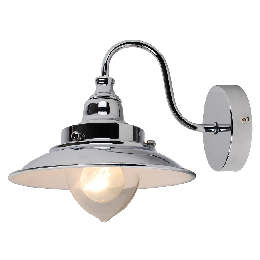 Modern Fishermans Style Wall Light Lamp Chrome w/White Gloss Inner & Glass Shade eBay