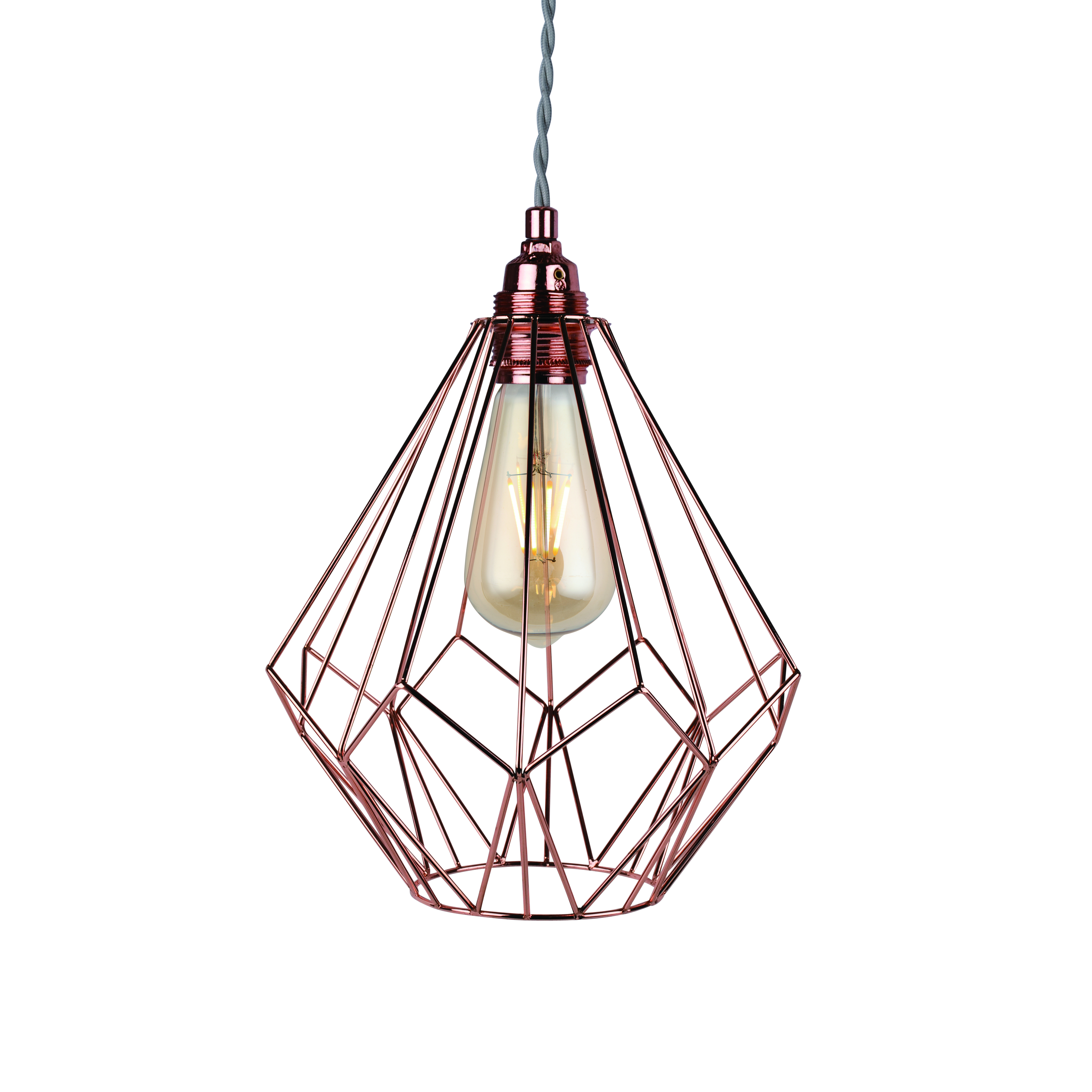 Geometric Copper Wire Easy Fit Hanging Ceiling Light Pendant ...