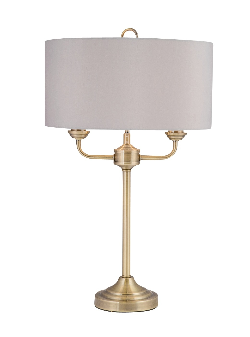 Light Grey Bedside Table: Modern Classic Antique Brass Twin Arm Table Lamp Bedside