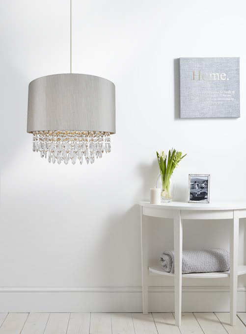 Modern EasyFit Drum Shade Silver Fabric Ceiling Pendant ...