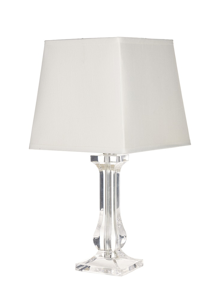 Modern Pair Of Clear Bedside Lounge Table Lamp Lights W