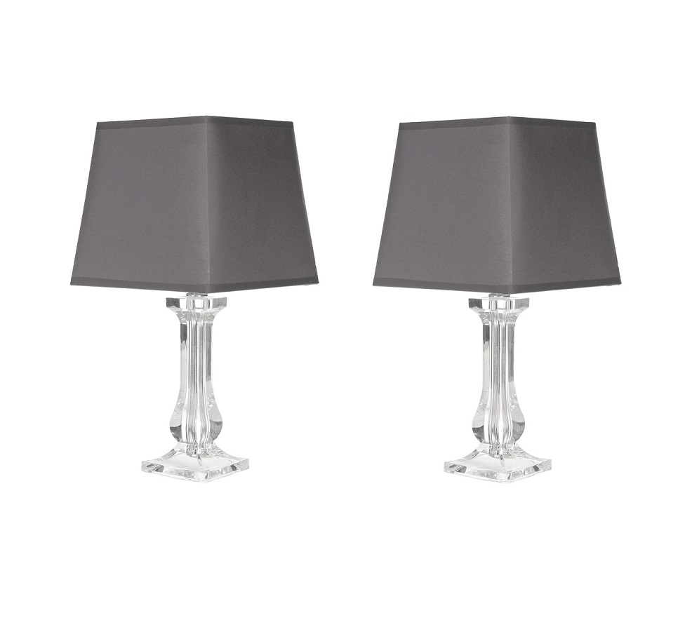 Modern set of 2 clear acrylic bedside table lamp lights for Bedside table lamp shades