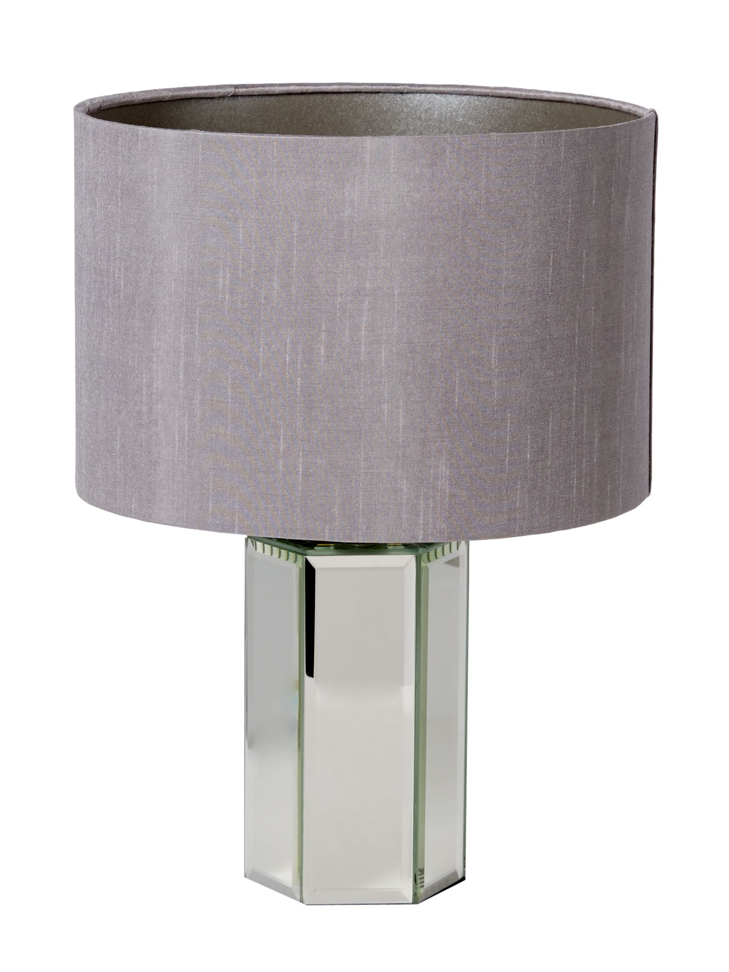 Light Grey Bedside Table: Modern Silver Glass Mirrored Table Lamp Bedside Light With