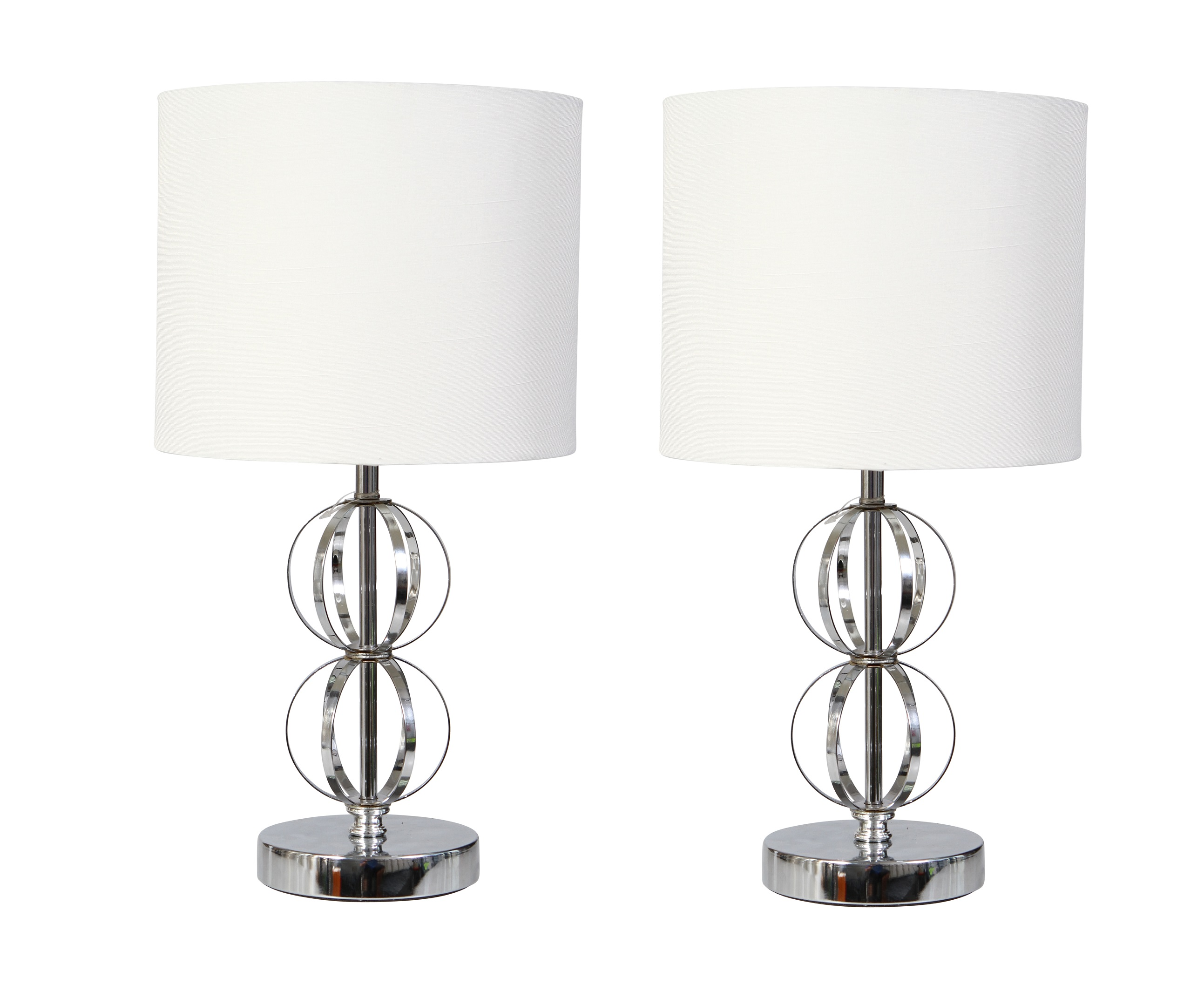 Pair Of Modern Chrome Table Lamp Bedside Lights With Cream