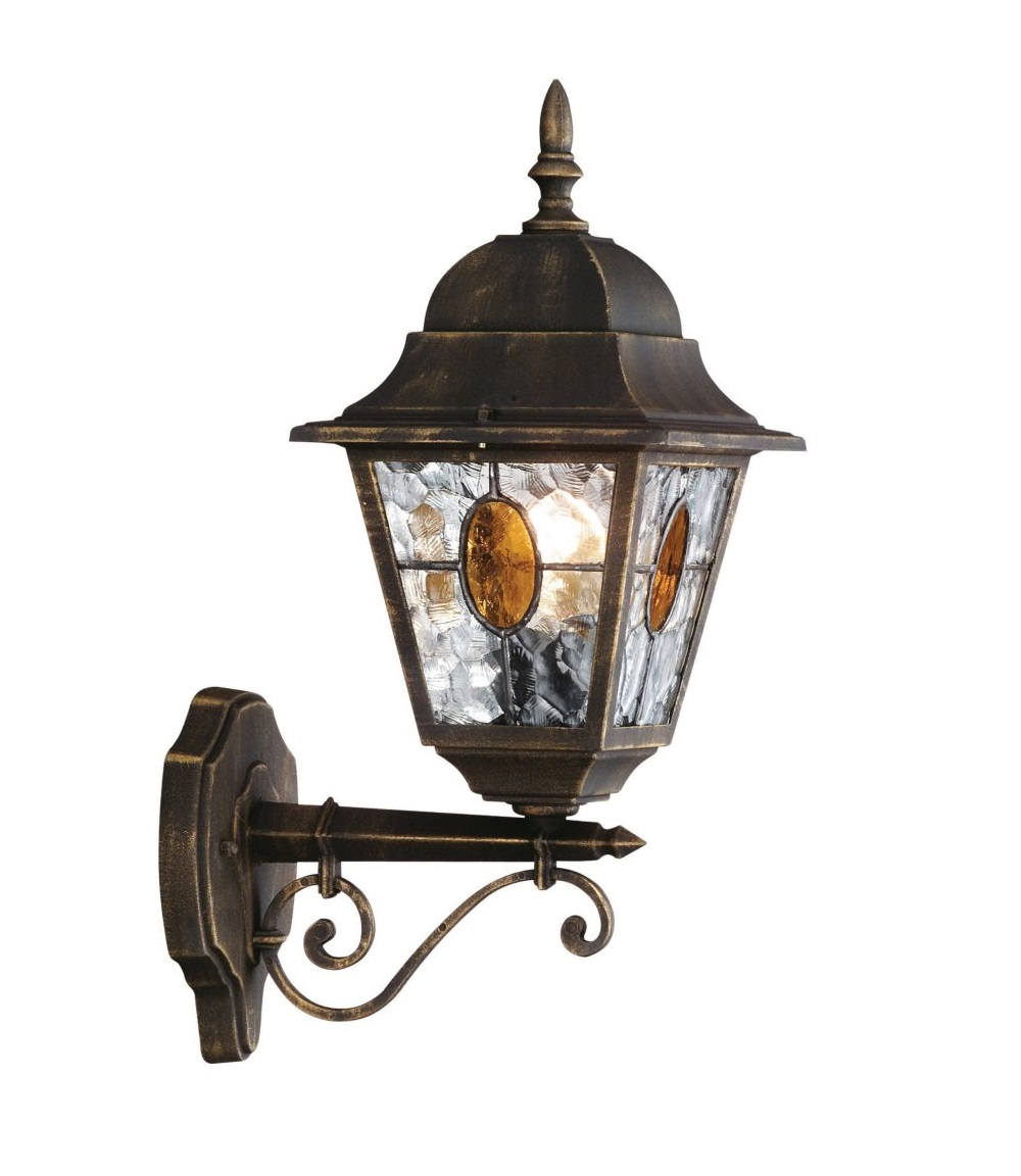 Outdoor Wall Light Stained Glass : Traditional Black Gold Stained Glass IP44 Outdoor Porch Wall Light Lantern