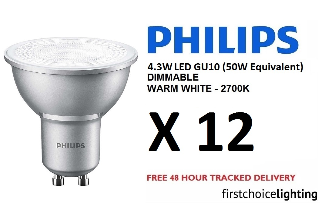 12 x philips master 4 3w 50w dimmable gu10 led spot lamps bulbs warm white ebay. Black Bedroom Furniture Sets. Home Design Ideas