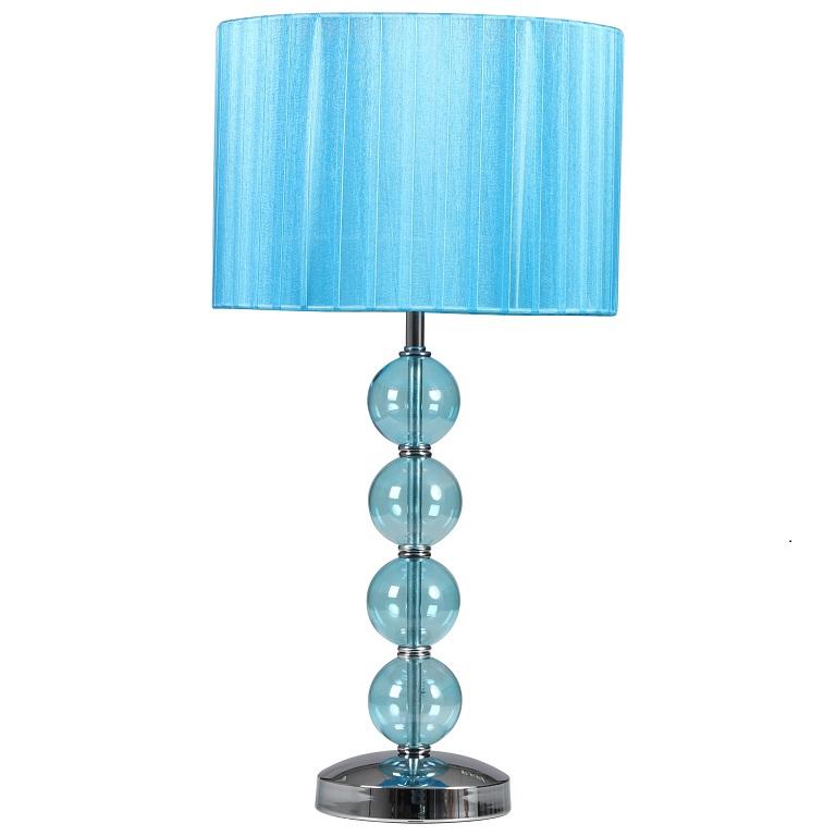 Modern chrome duck egg blue glass table lamp bedside for Glass bedside lamp shades