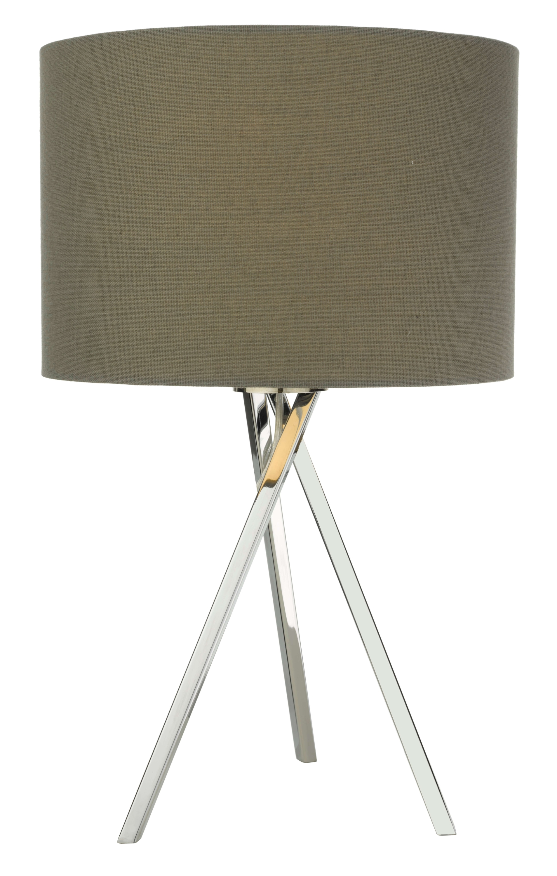 Light Grey Bedside Table: Modern Chrome Finish Tripod Table Lamp Bedside Light With