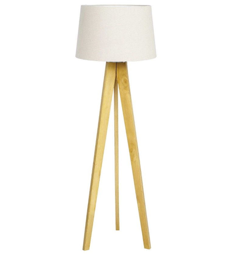 modern natural wood tripod floor lamp with grey faux linen