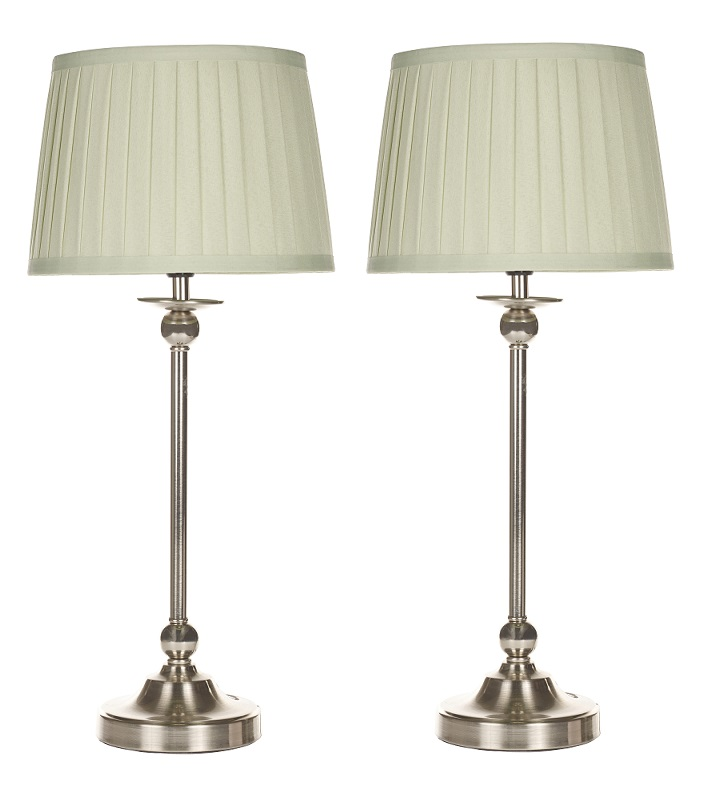 Pair Of Modern Nickel Table Lamp Bedside Lights With